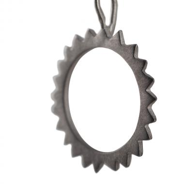 Gear Black Silver Necklace