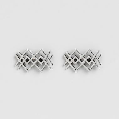 Silver Net Earrings